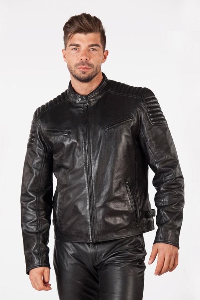 Черная мужская куртка из натуральной кожи New Rock, 7