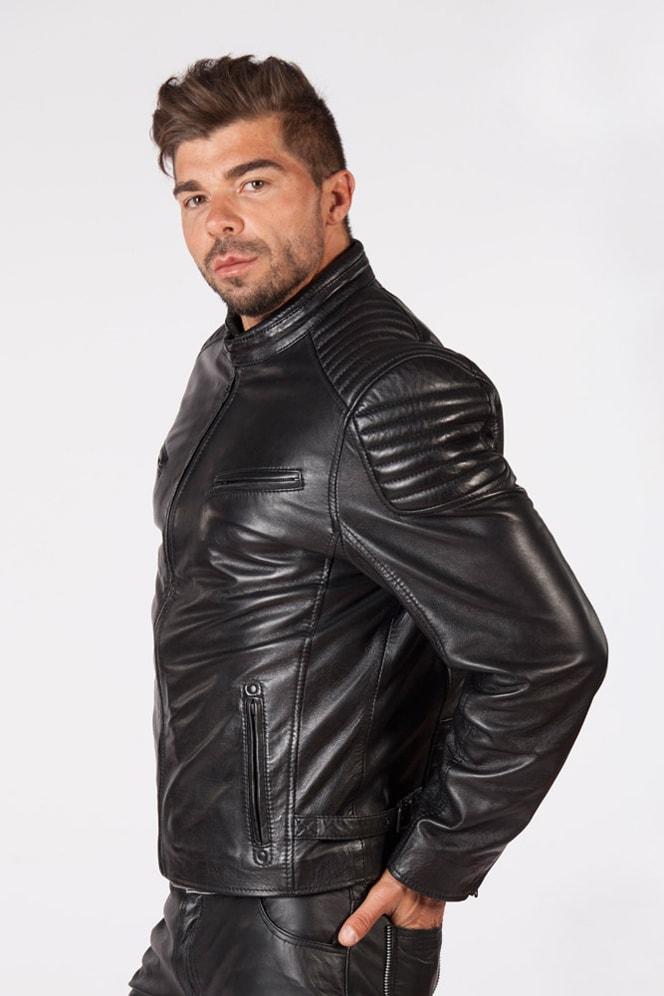 Черная мужская куртка из натуральной кожи New Rock, 5