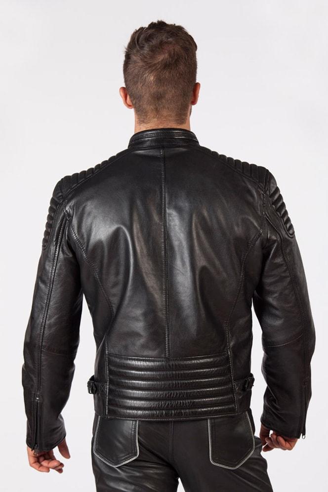 Черная мужская куртка из натуральной кожи New Rock, 3