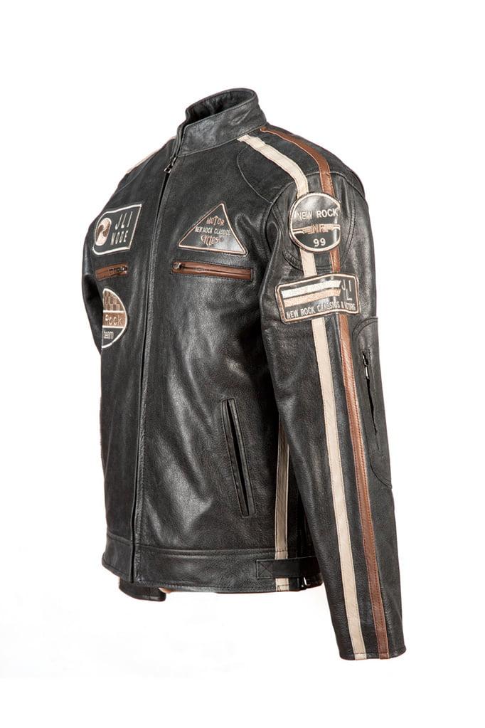 Черная мужская мотокуртка из натуральной кожи New Rock, 3