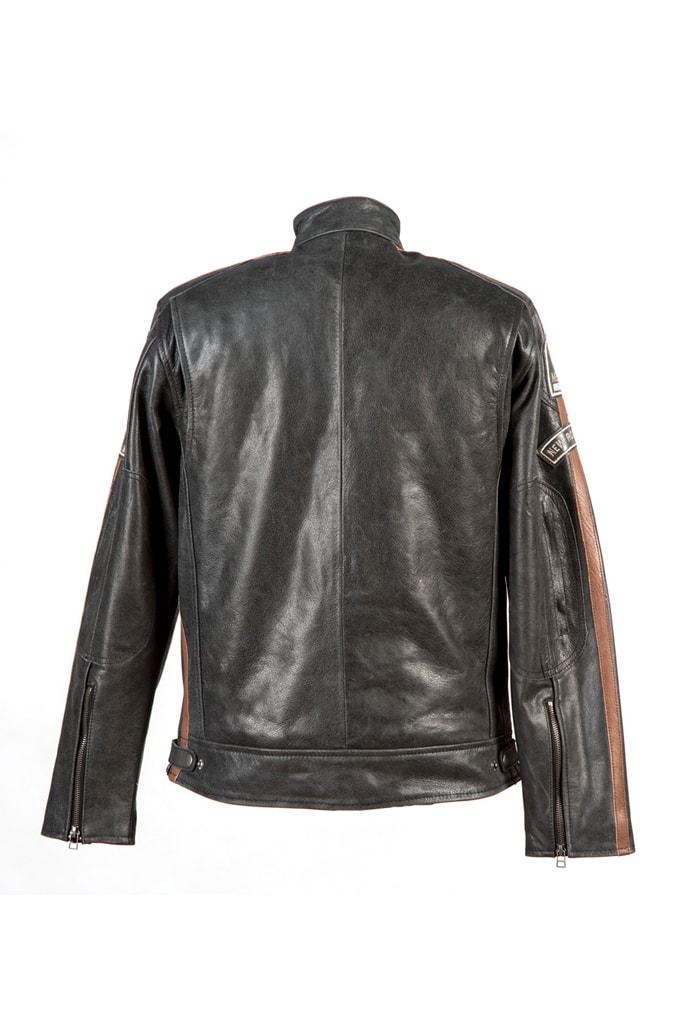 Черная мужская мотокуртка из натуральной кожи New Rock, 5