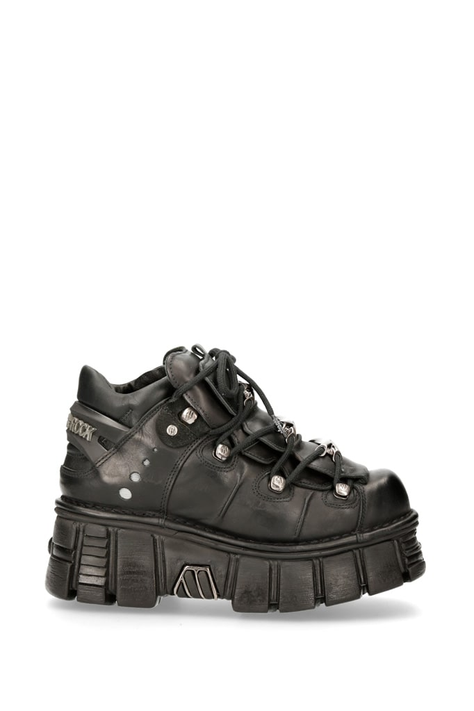 Черные кожаные кроссовки на массивной подошве M106c66, 11