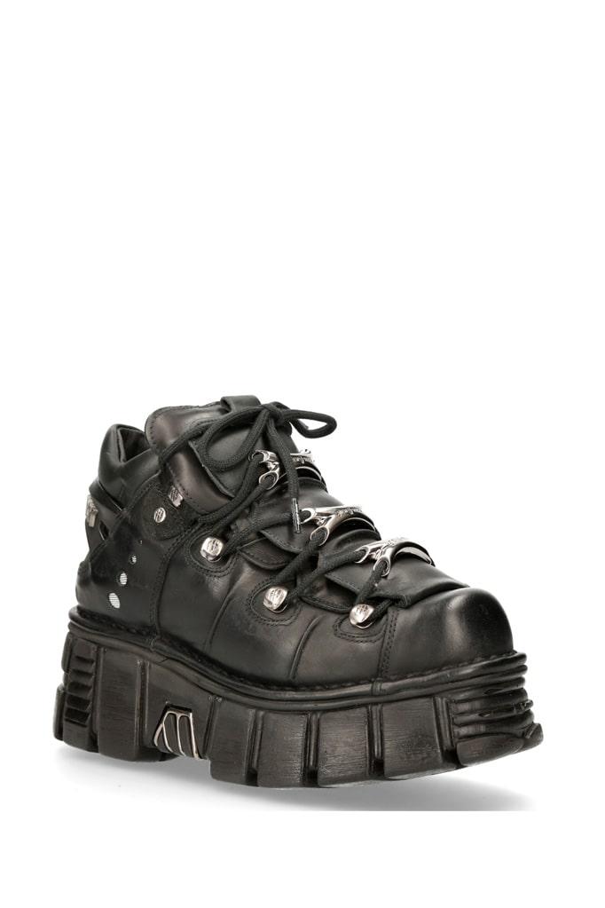 Черные кожаные кроссовки на массивной подошве M106c66, 9