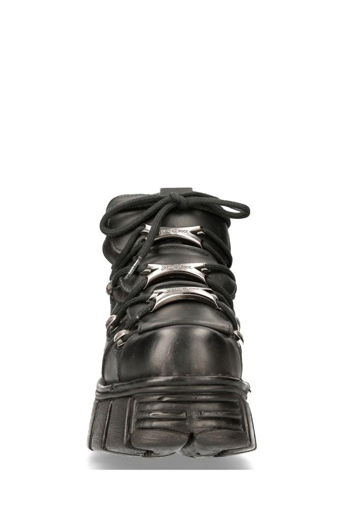 Черные кожаные кроссовки на массивной подошве M106c66, 3