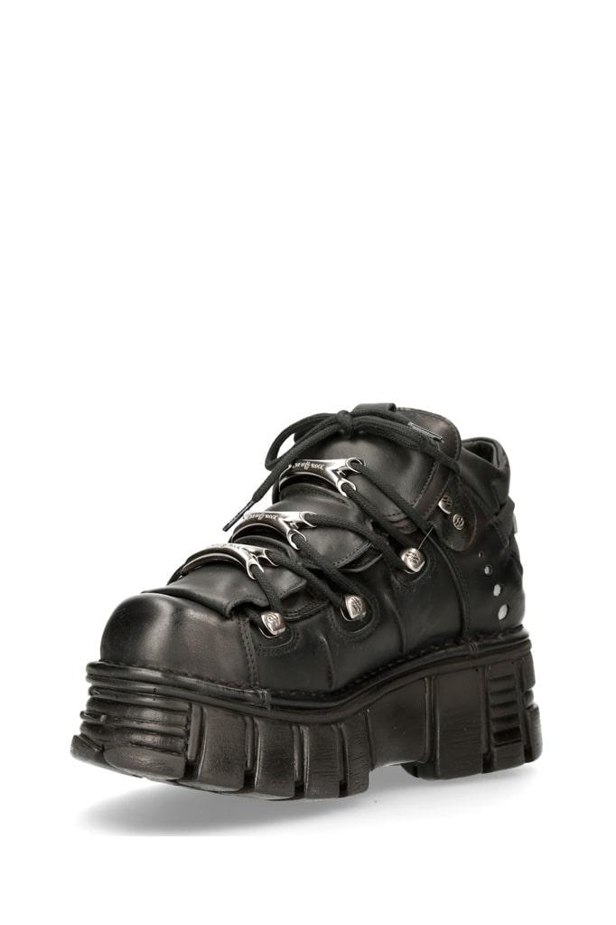 Черные кожаные кроссовки на массивной подошве M106c66, 5