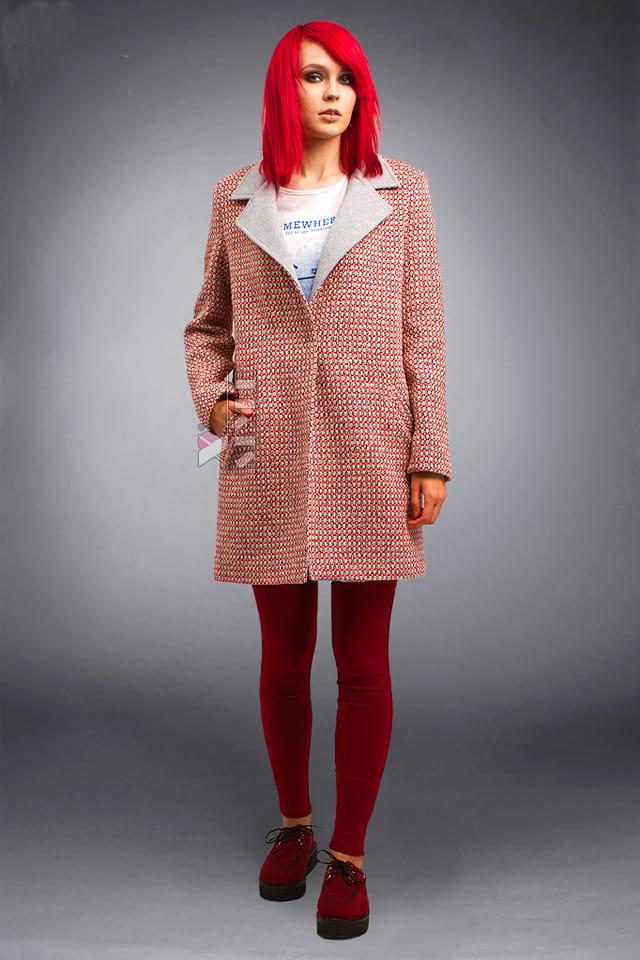 Демисезонное пальто из хлопкового твила X4035, 5