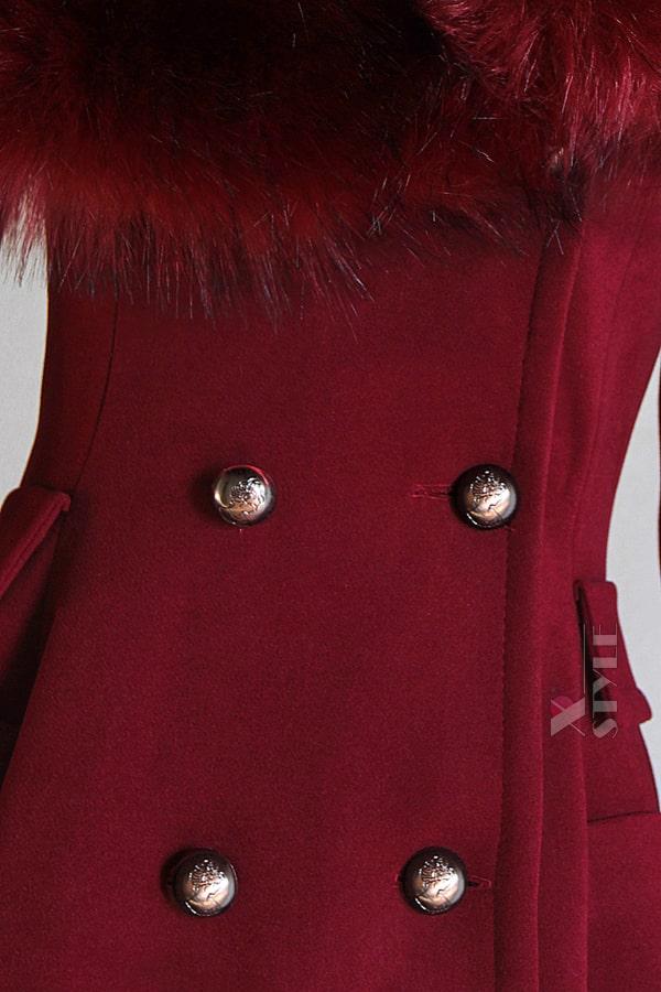 Зимнее шерстяное пальто с мехом X5073, 5