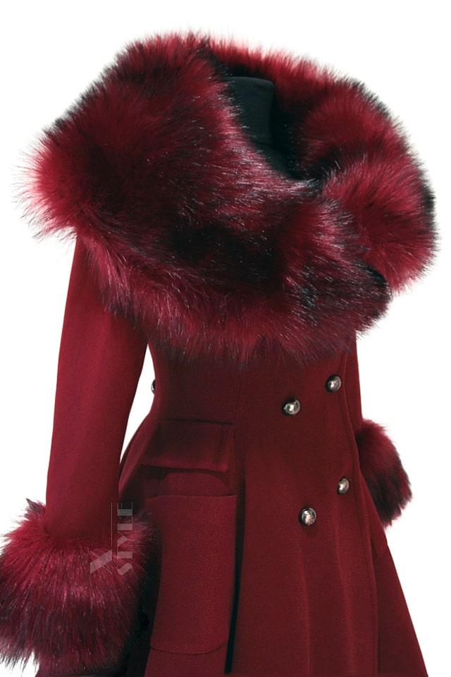 Зимнее шерстяное пальто с мехом X5073, 7
