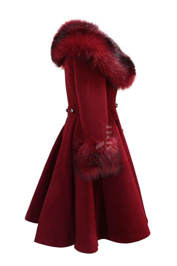 Зимнее шерстяное пальто с мехом X5073, 9