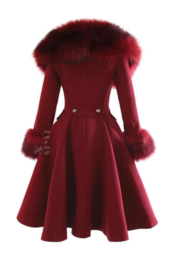 Зимнее шерстяное пальто с мехом X5073, 3