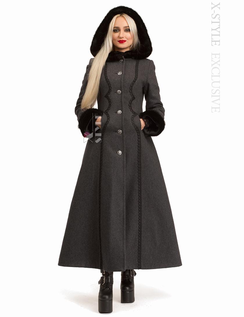 Длинное женское пальто из натуральной шерсти X-Style