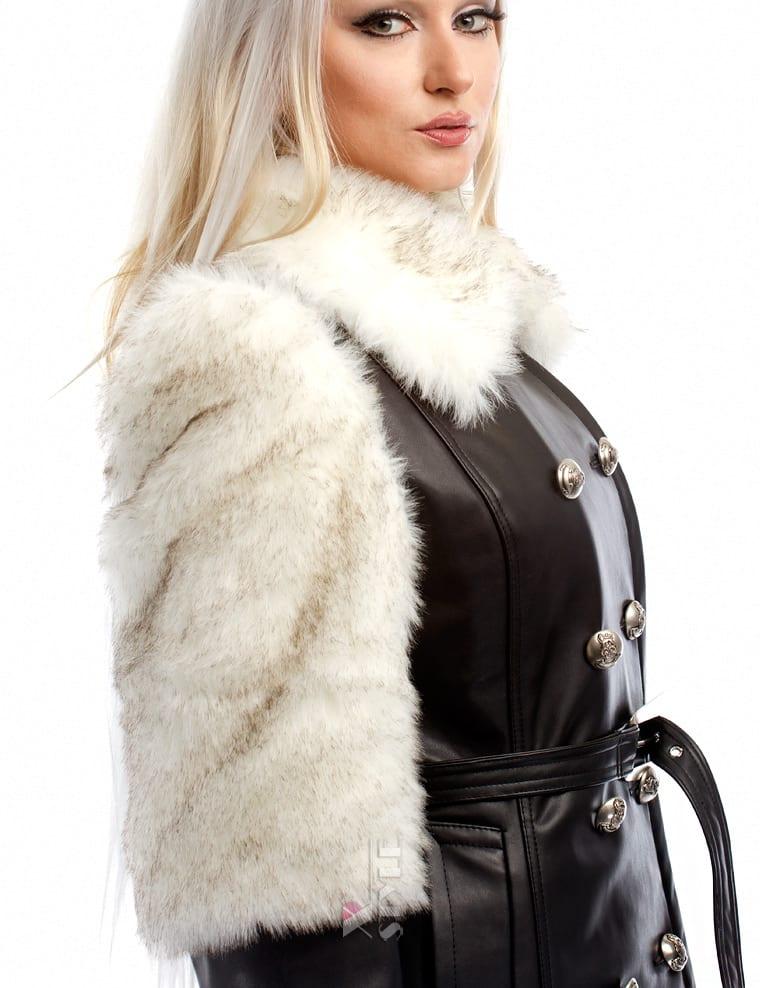 Зимнее кожаное пальто с мехом и поясом X-Style, 7