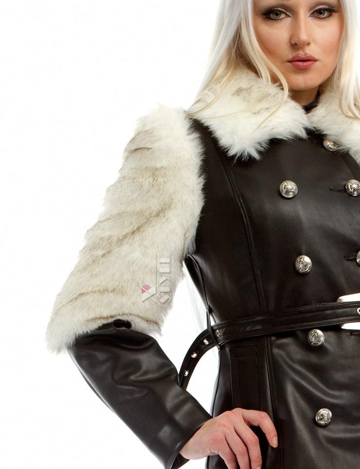 Зимнее кожаное пальто с мехом и поясом X-Style, 9