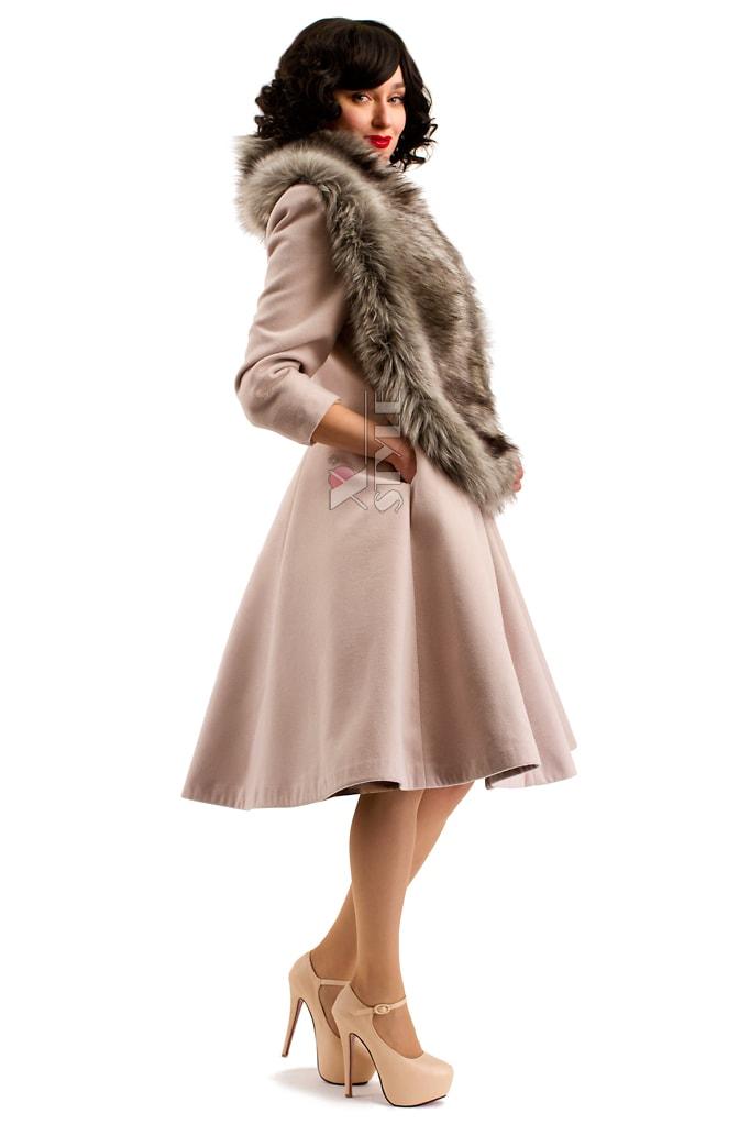 Пальто в стиле Ретро с меховой горжеткой, 7