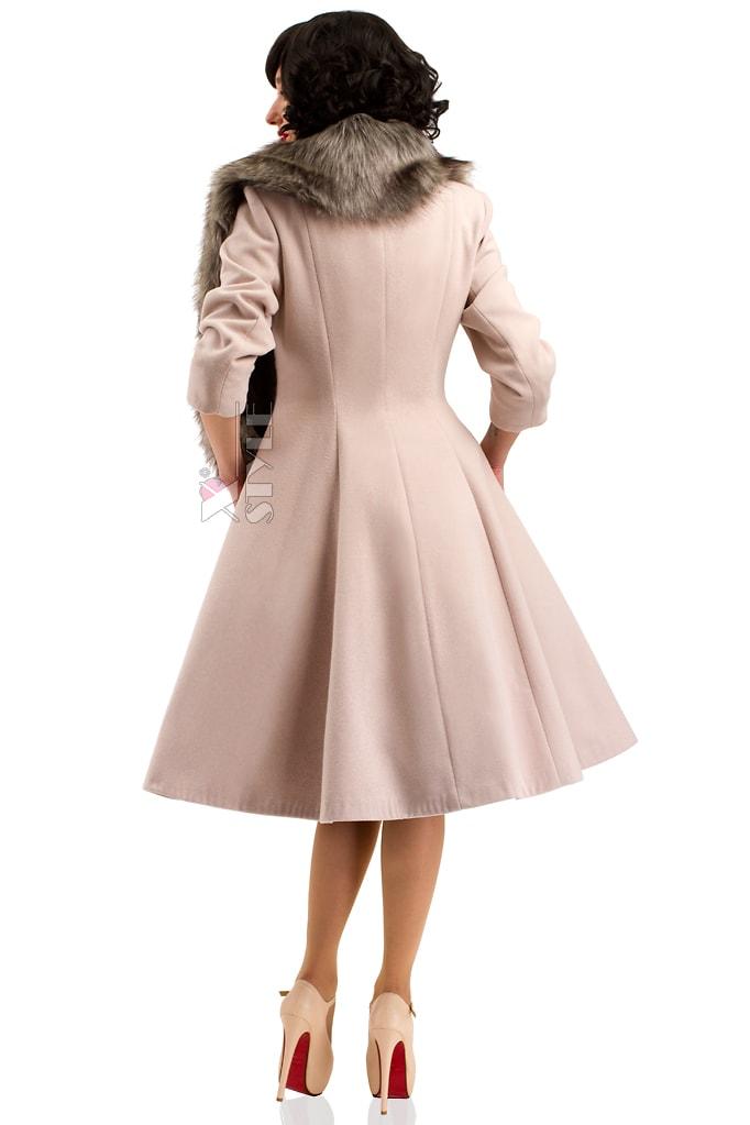 Пальто в стиле Ретро с меховой горжеткой, 3