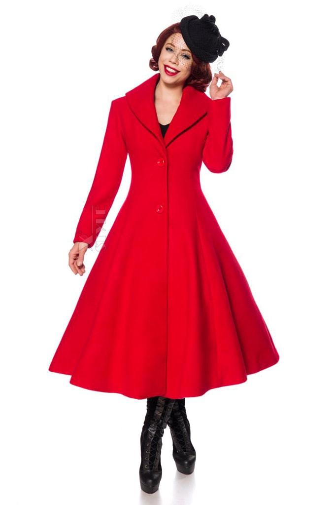 Приталенное длинное шерстяное пальто B4047, 5