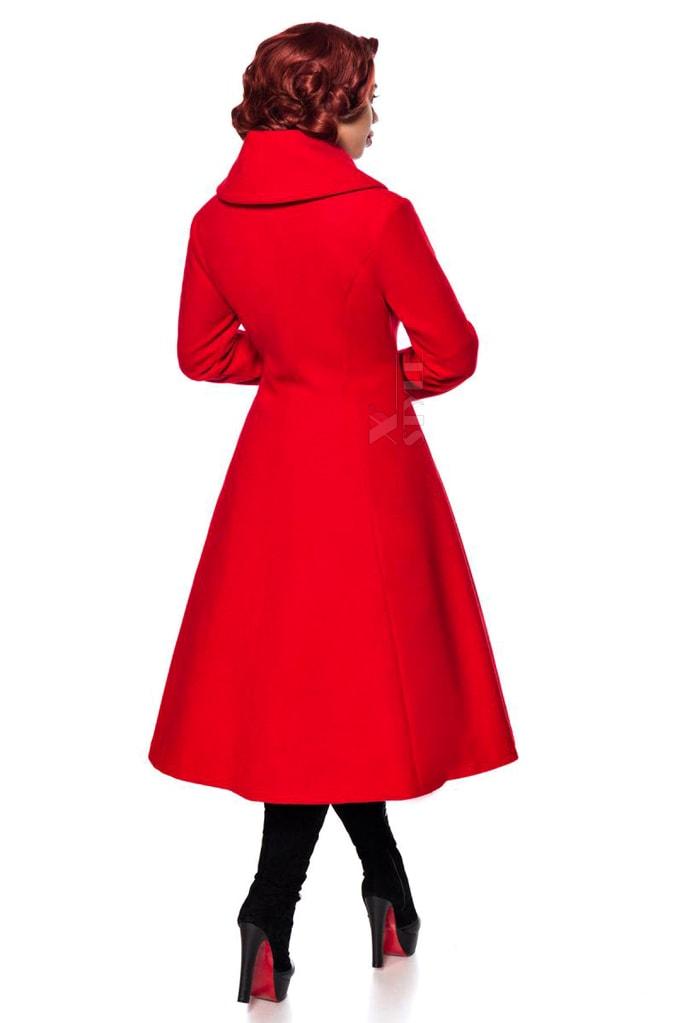Приталенное длинное шерстяное пальто B4047, 3
