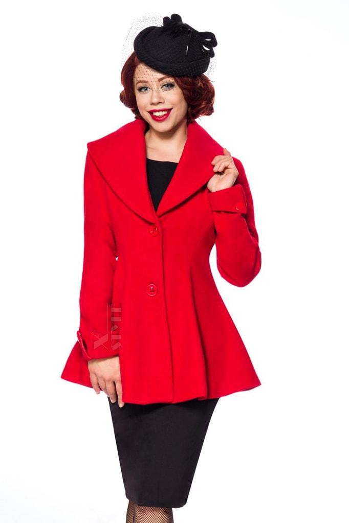 Полушерстяное пальто с баской B4050, 5