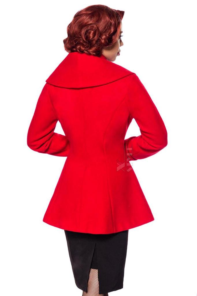 Полушерстяное пальто с баской B4050, 3