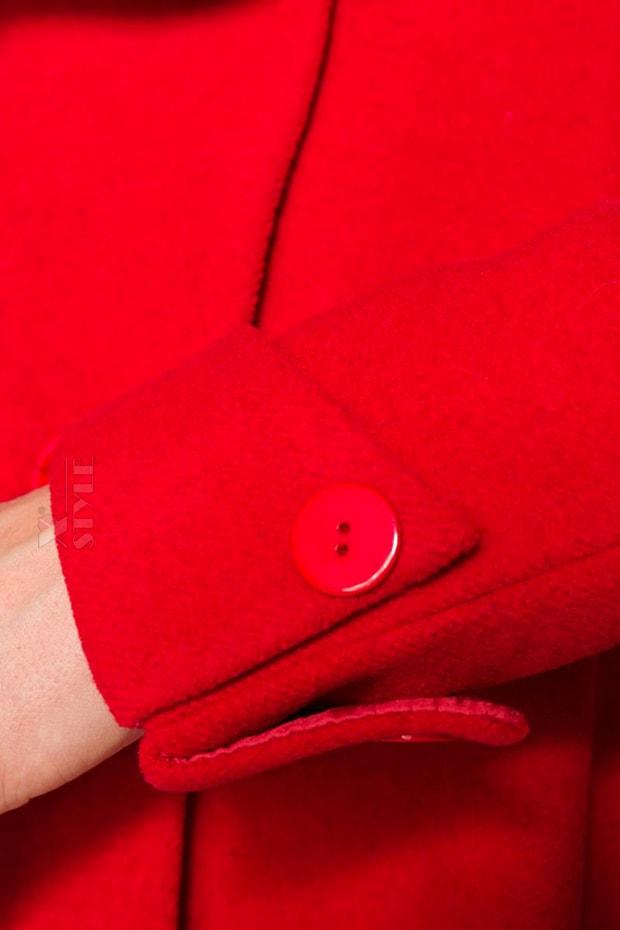 Полушерстяное пальто с баской B4050, 7