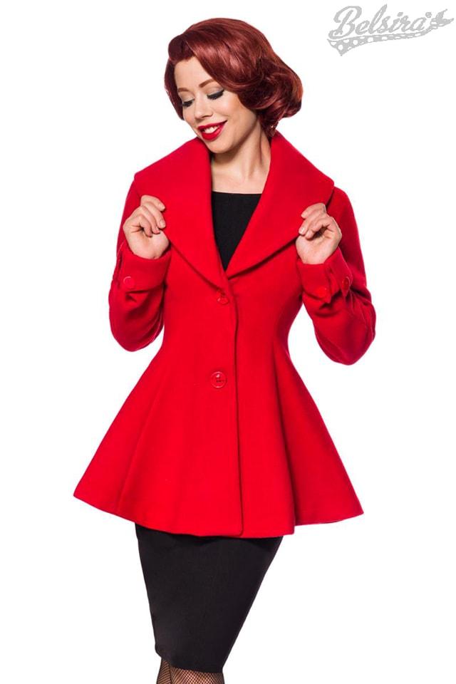 Полушерстяное пальто с баской B4050