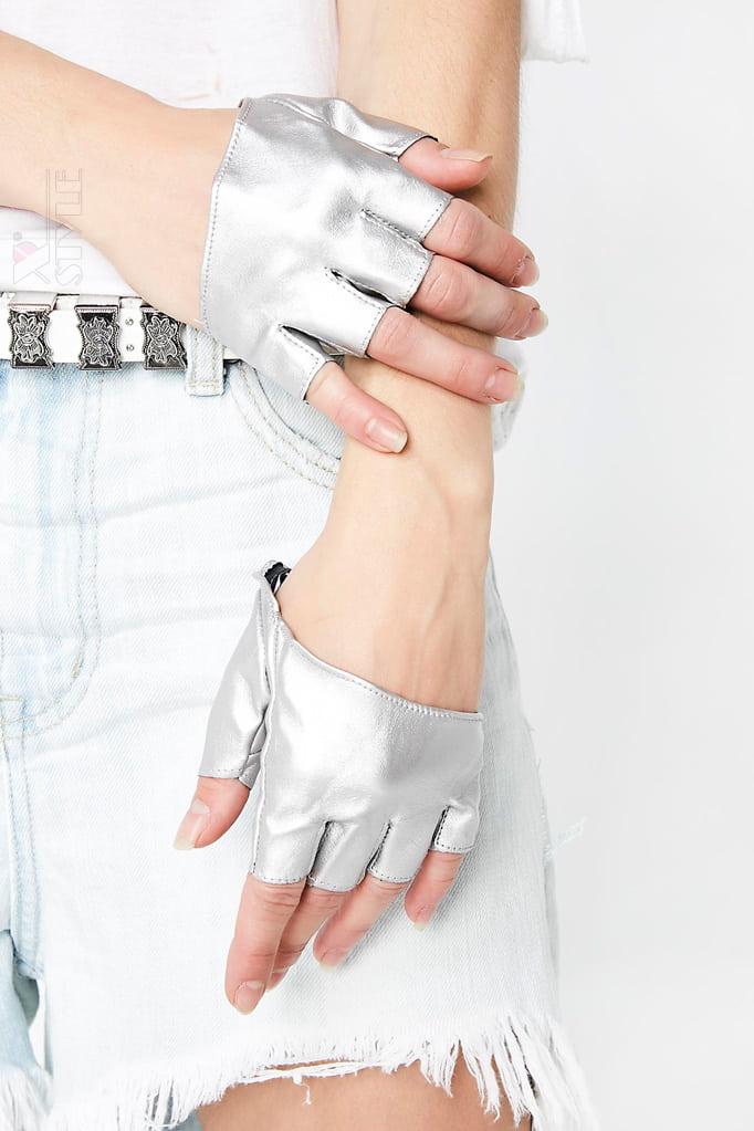 Серебристые перчатки без пальцев XT1177