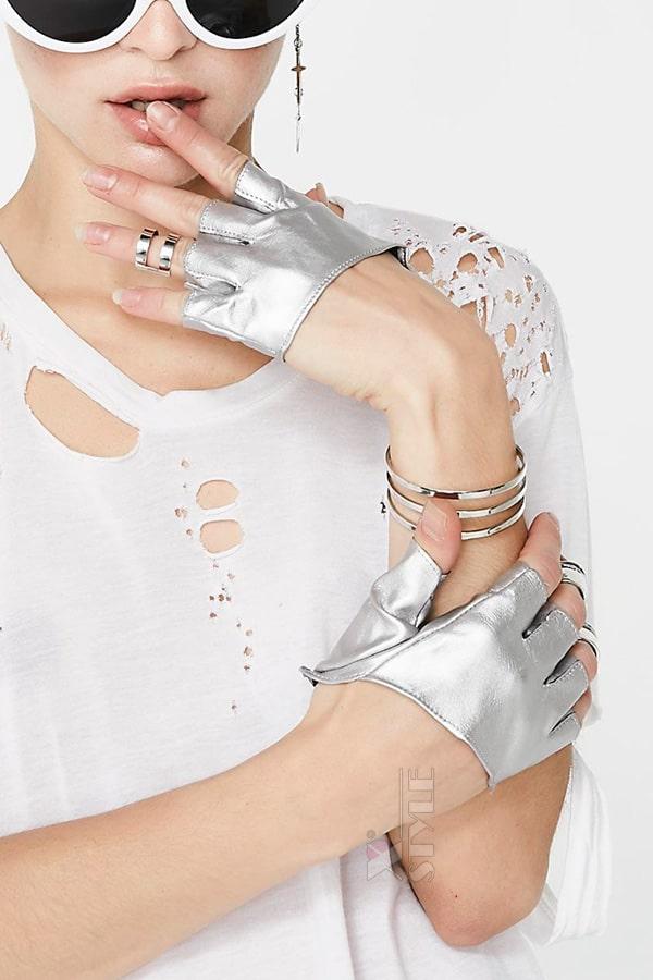 Серебристые перчатки без пальцев XT1177, 3