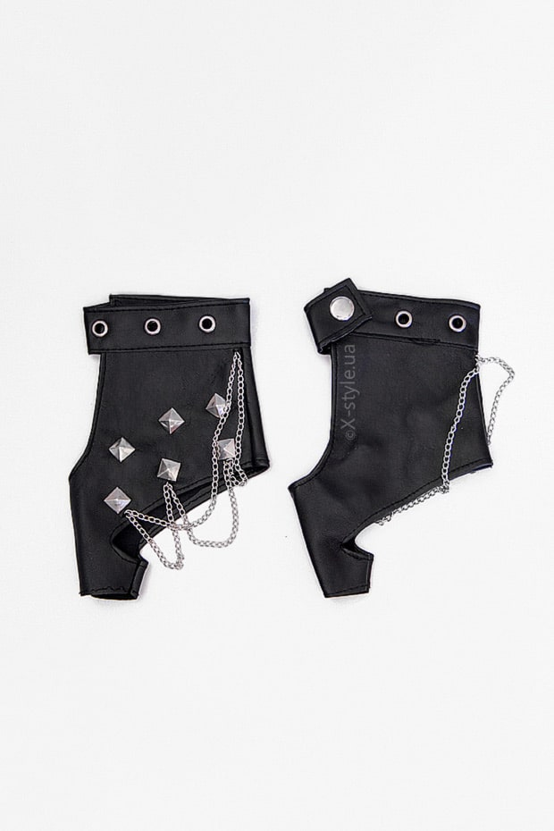 Женские кожаные перчатки без пальцев с цепями и клепками X1186, 3
