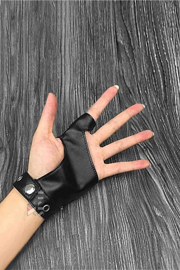 Женские кожаные перчатки без пальцев с цепями и клепками X1186, 7
