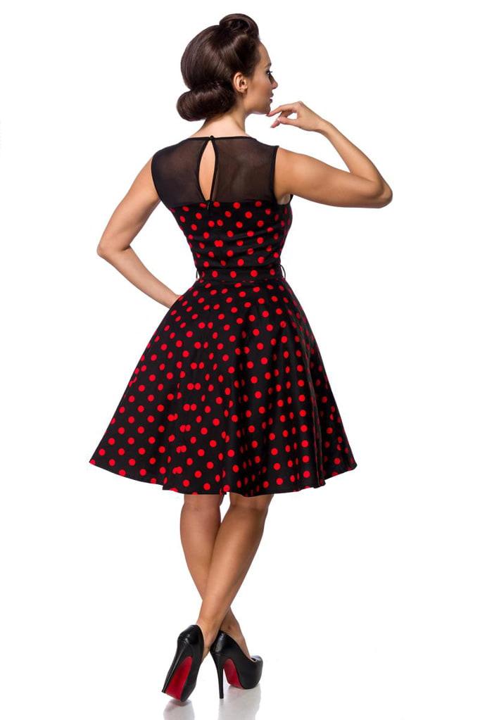 Платье в красный в горошек с сеточкой B5515, 5