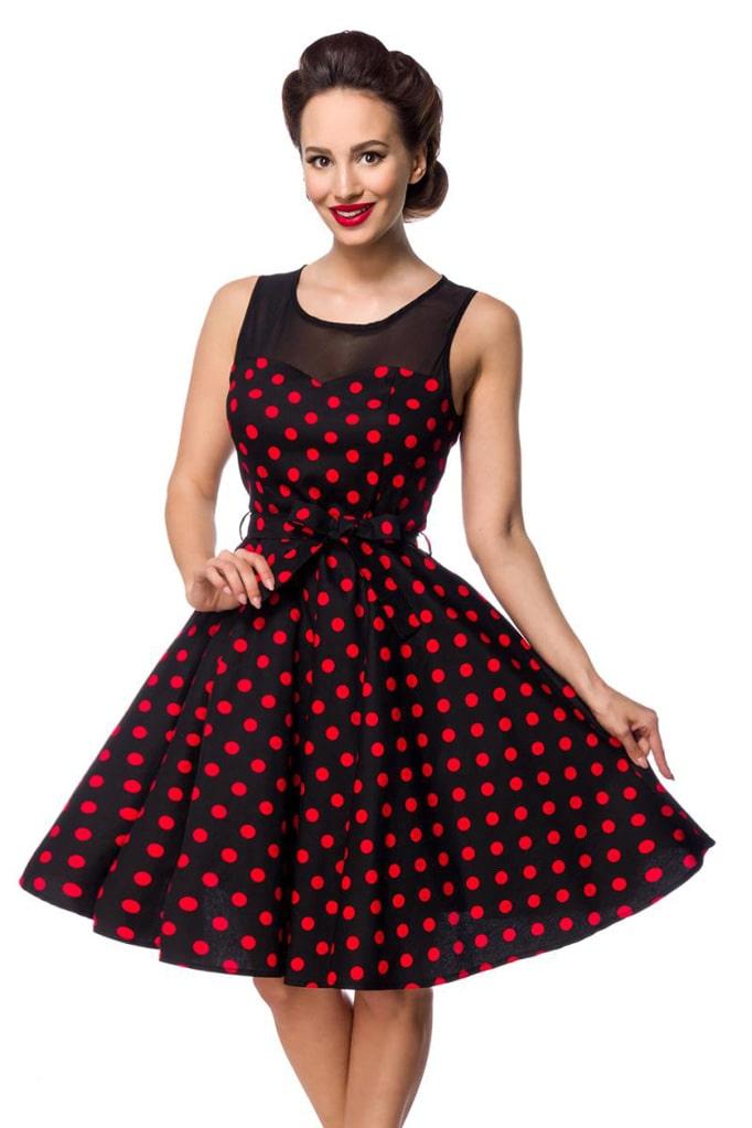 Платье в красный в горошек с сеточкой B5515, 3