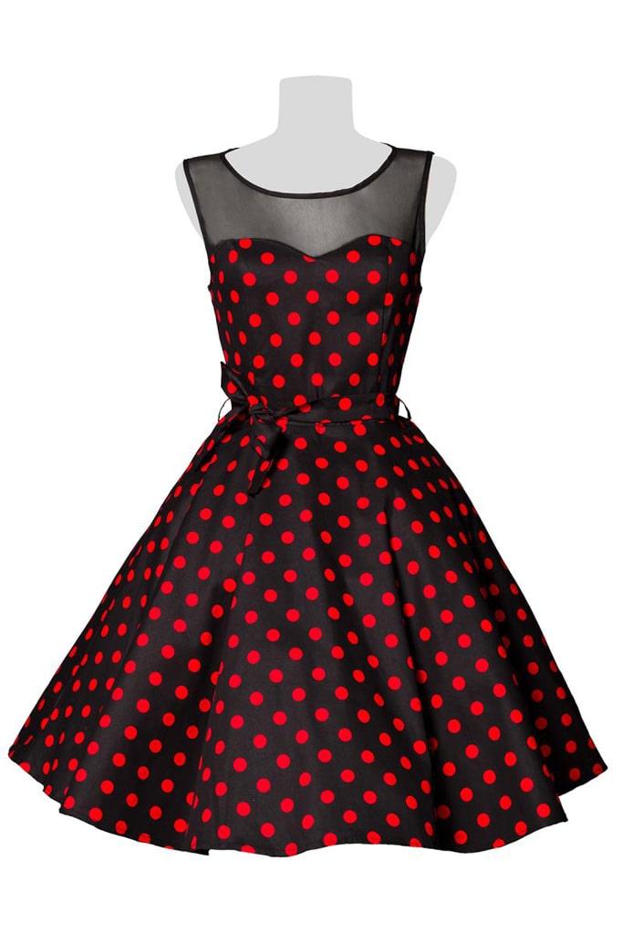 Платье в красный в горошек с сеточкой B5515, 9