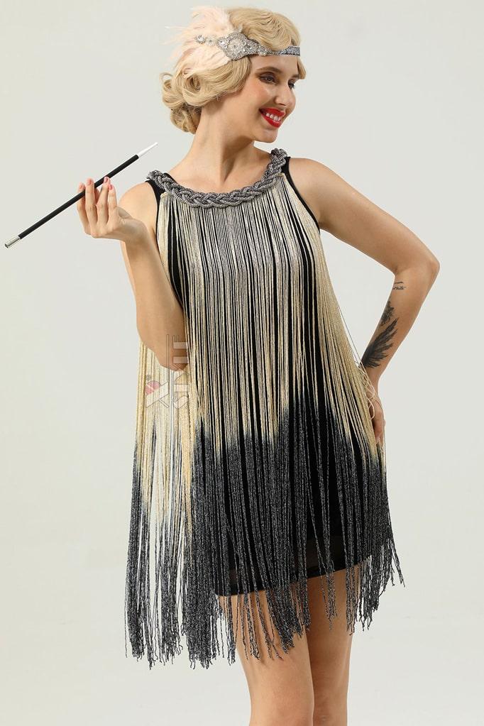Короткое платье с бахромой в стиле 1920х U5522, 5