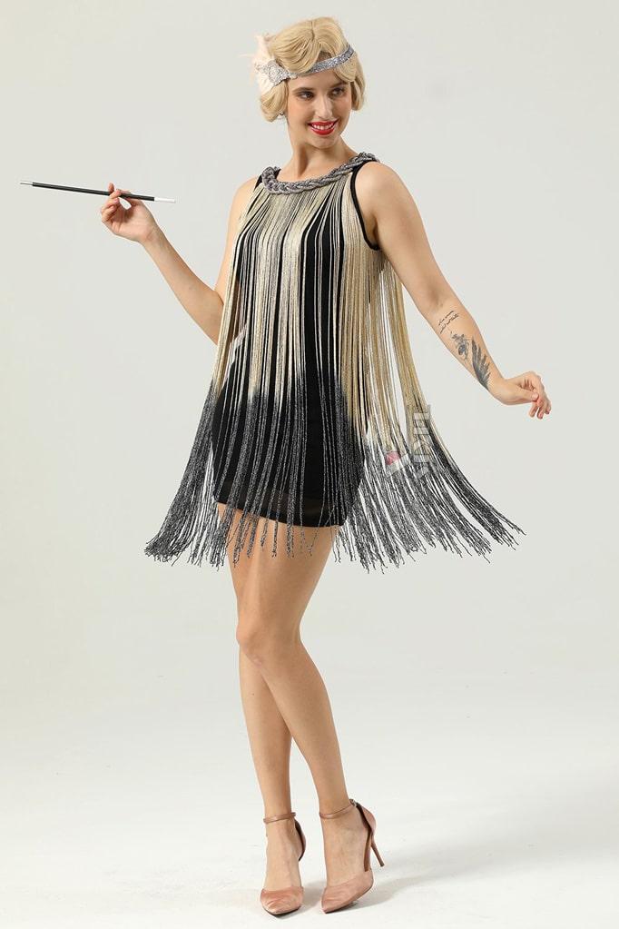 Короткое платье с бахромой в стиле 1920х U5522, 3