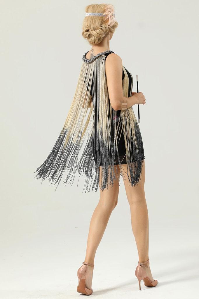Короткое платье с бахромой в стиле 1920х U5522, 9