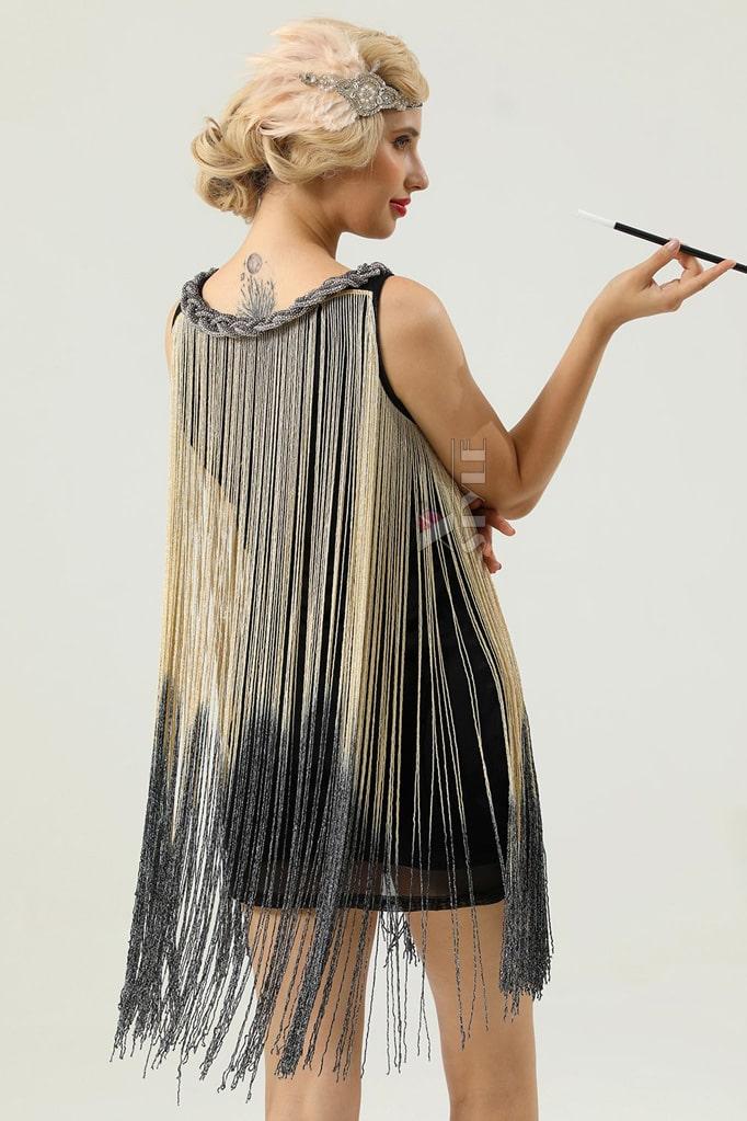Короткое платье с бахромой в стиле 1920х U5522, 7