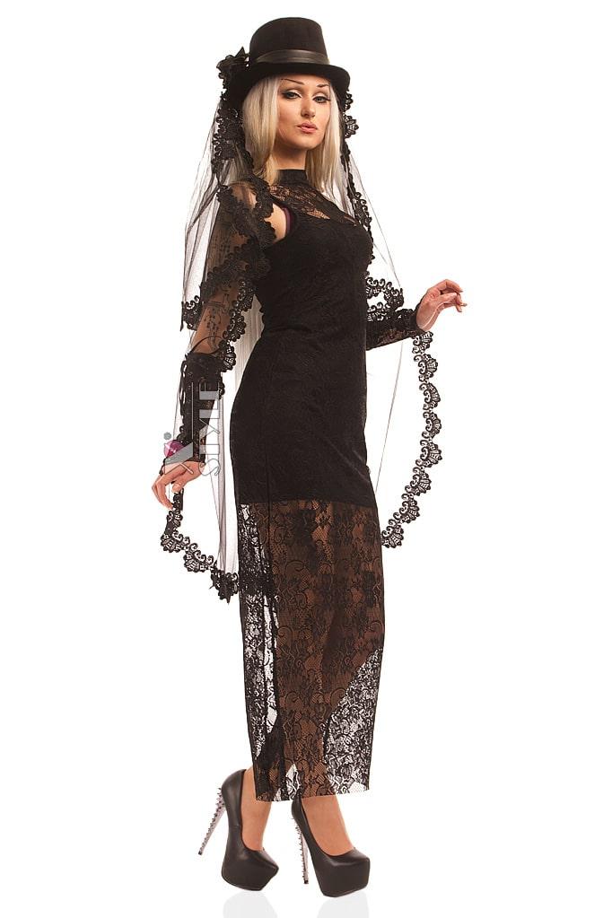 Длинное черное платье X5076, 7