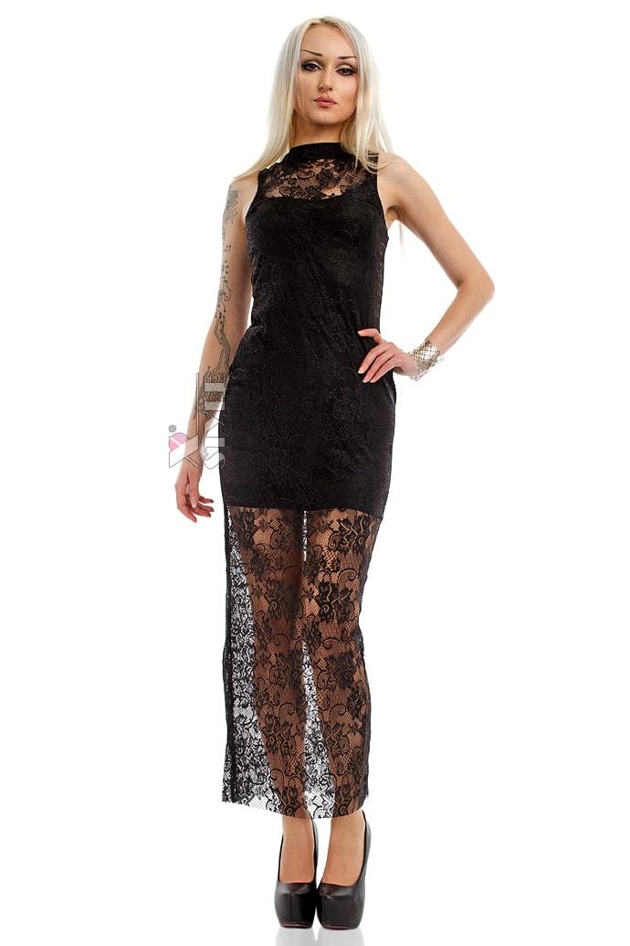 Длинное черное платье X5076, 3