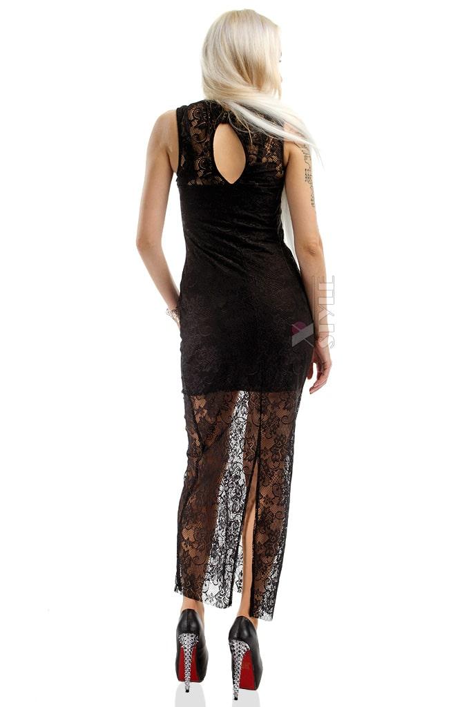 Длинное черное платье X5076, 5