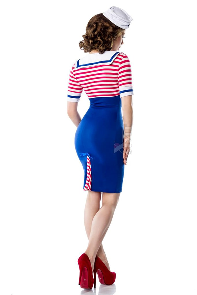 Платье ретро в морском стиле B5443, 5