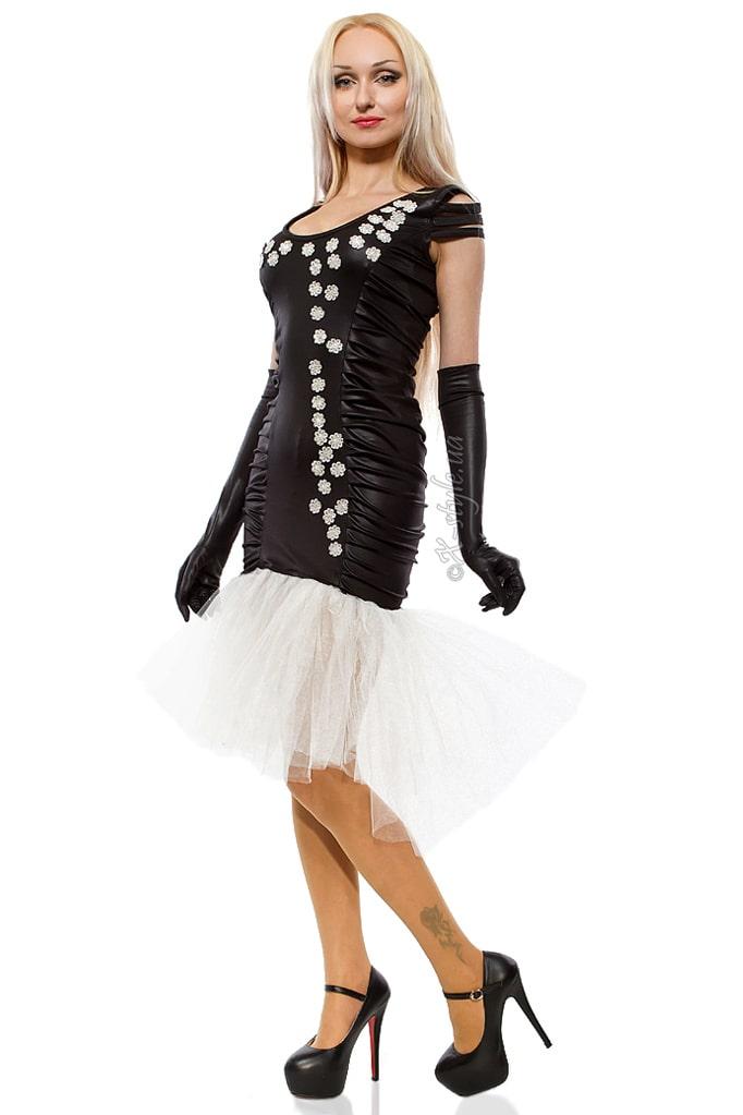 Вечернее платье с перчатками и вышивкой, 5