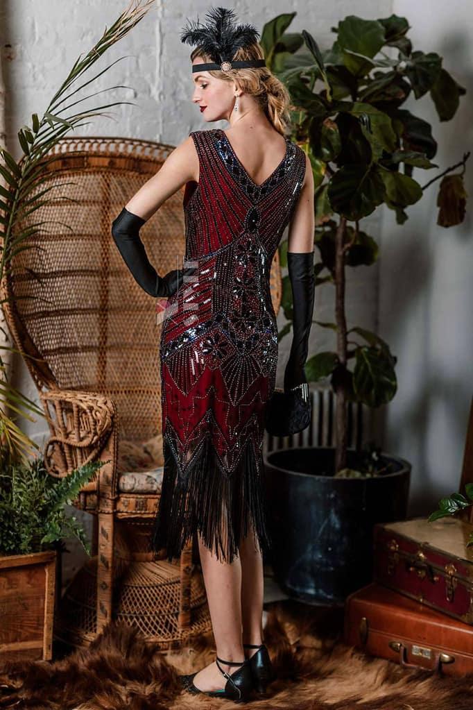 Платье с пайетками и бахромой в стиле 20-х XC299, 7