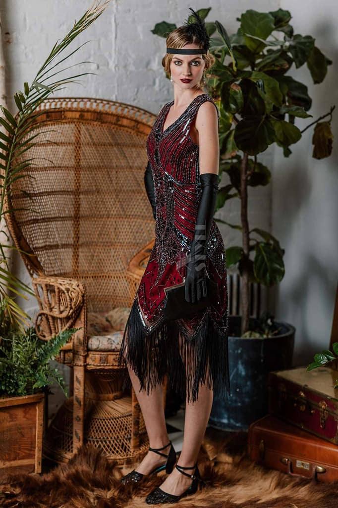 Платье с пайетками и бахромой в стиле 20-х XC299, 3
