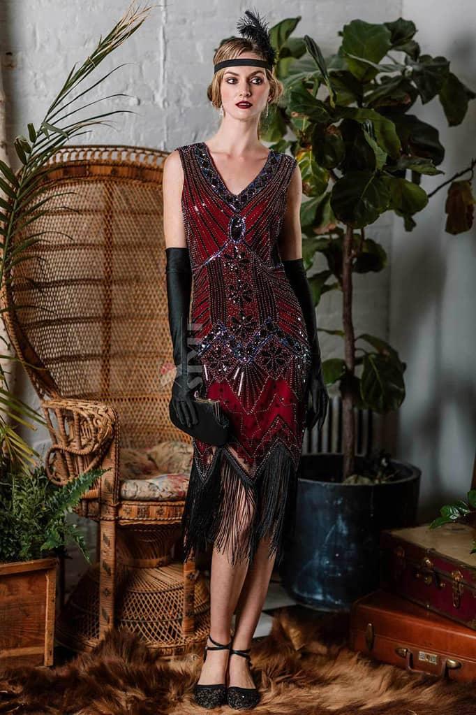 Платье с пайетками и бахромой в стиле 20-х XC299, 5