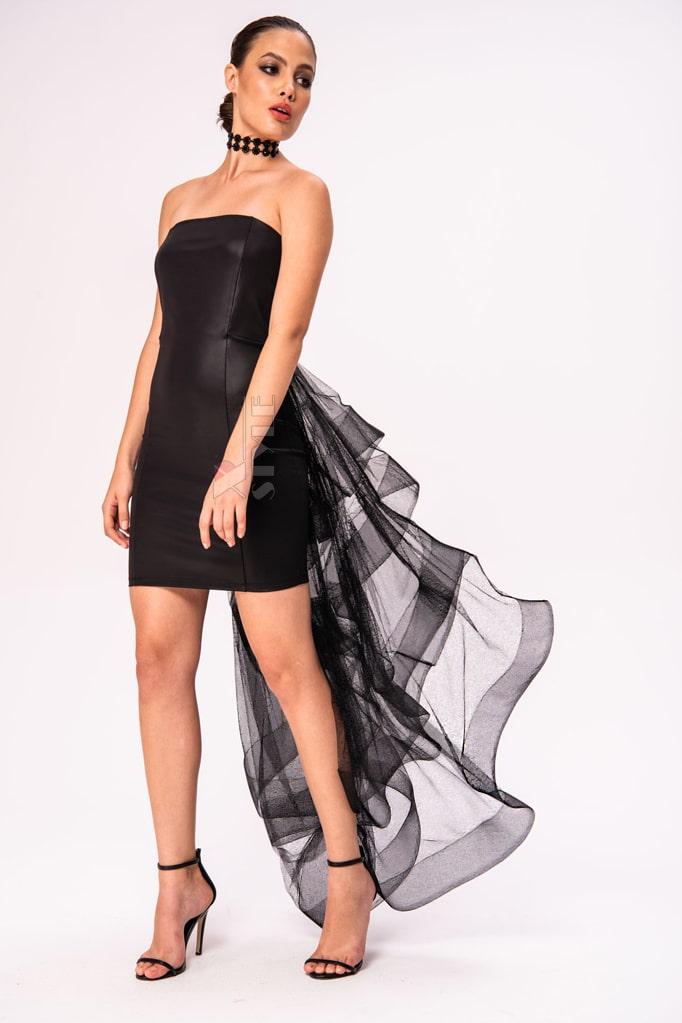 Кожаное платье со шлейфом X5454, 3