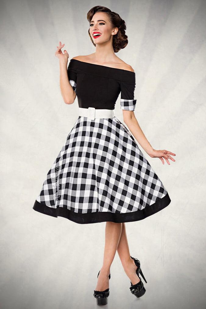 Винтажное платье с клетчатой юбкой, 9
