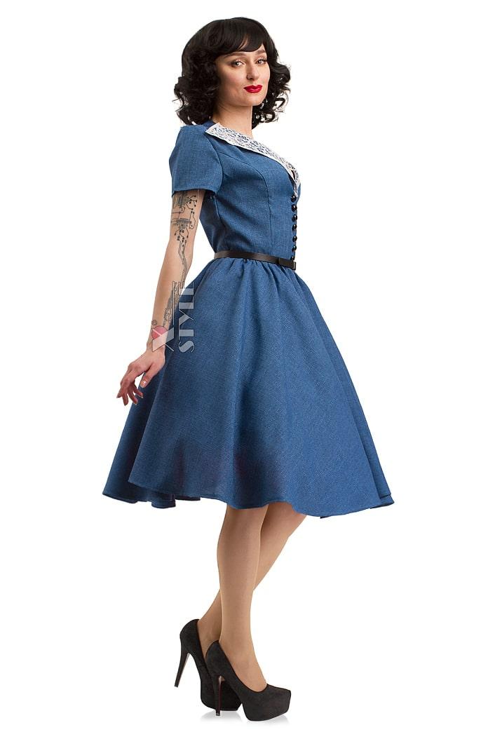 Винтажное льняное платье X5353, 7