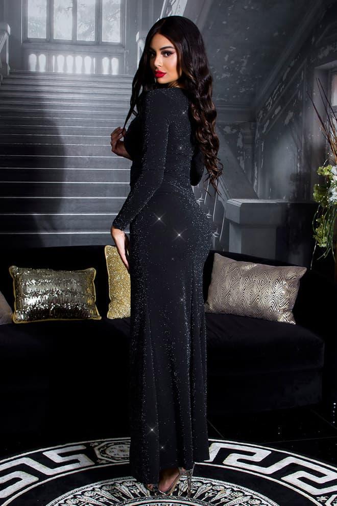 Длинное блестящее платье с разрезом KC5448, 7