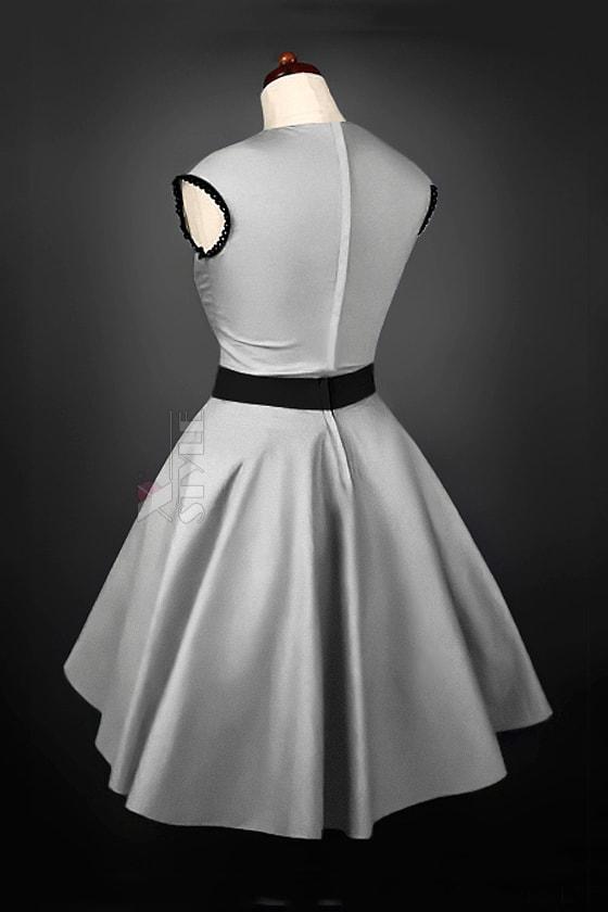 Винтажное серебристое платье с подъюбником X5163, 3