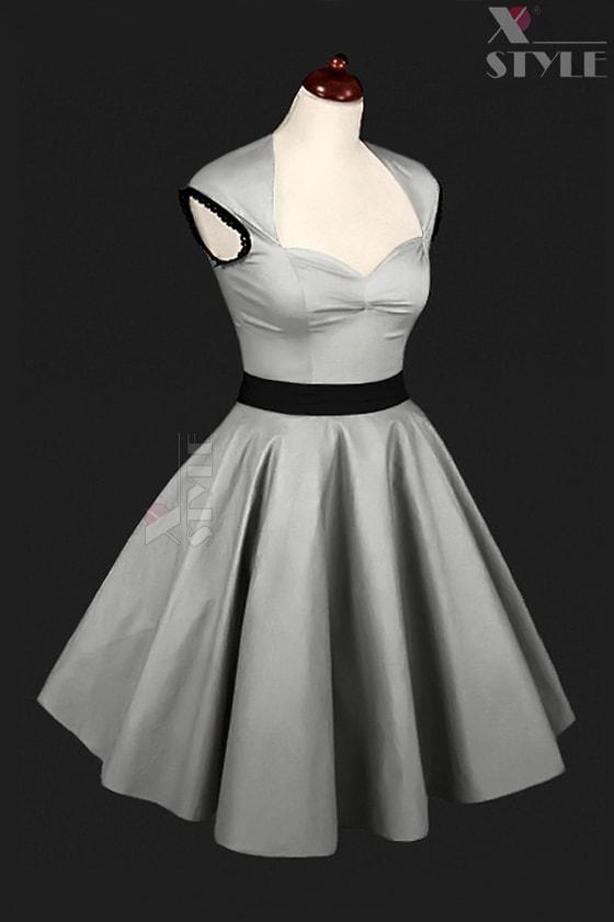 Винтажное серебристое платье с подъюбником X5163